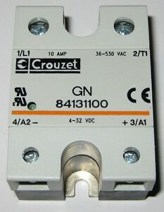 Crouzet Solid State Relay 530v Ac 10a Gn 84131100 4 32 Vdc Control 10amp