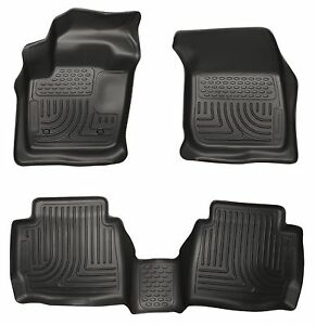 Husky Black Weatherbeater Front 2nd Row Floor Liners 2013 16 Ford Fusion Mkz