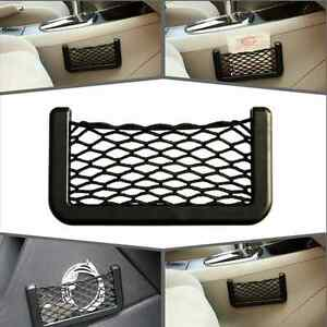 Auto Car Black Storage Net String Pouch Bag Gps Phone Holder Pocket Organizer