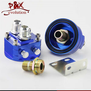 Universal 10 An10 Cooler Sandwich Plate Adapter Oil Filter Relocation Kit Blue