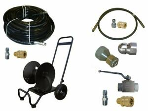 Sewer Jetter Cleaner Kit Ball Valve 150 X 3 8 Hose Reel And Nozzles