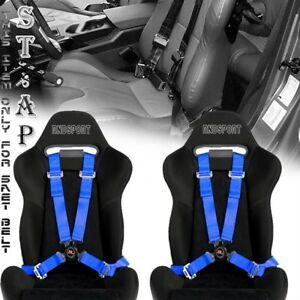 Adjusters 2x Pair 4 Point Camlock 2 Strap Racing Safety Seat Belt Harness Blue
