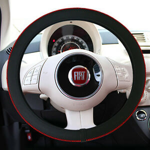 Sports Black Red Stitch Steering Wheel Slim Cover 1ea 370mm For Universal Car