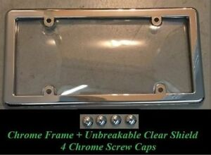 Clear License Plate Shield Cover Chrome Frame For Cars New