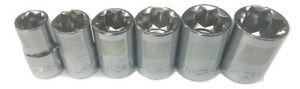 Craftsman 6pc 1 2 Sae Star Sockets Laser Etched Set 8pt Inch Square Drive Point