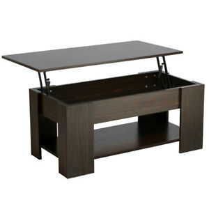 Lift Top Coffee Table W Hidden Compartment Storage Shelves Modern Furniture
