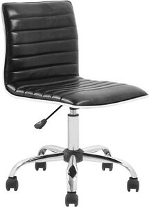 Mid back Armless Black Ribbed Designer Task Chair Modern Office Task Chair