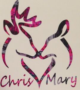 Deer Heart Personalized Names Doe Buck Vinyl Decal 5 Pink Camo Country Browning