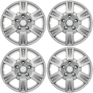 4 Pc Of 15 Inch Silver Hub Caps Full Lug Skin Rim Cover For Oem Steel Wheel Cap