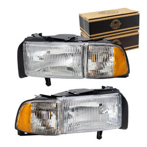 Pair Headlights For 1994 2002 Dodge Ram Truck Headlamp Lens Set W Corner Lamps