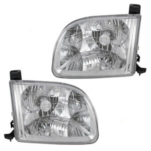 Fits Toyota Tundra 01 04 Truck Set Of Headlights Headlamps W Lens
