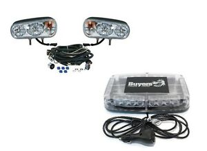 Snow Plow Blade Truck Light Upgrade Kit Amber Led Lightbar Halogen Headlights