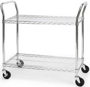 18 X 36 Heavy Duty Office Rolling Media Utility Push Cart In Silver W casters