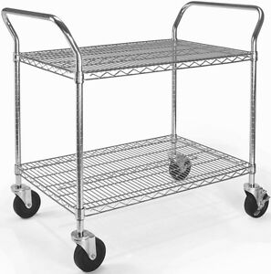 24 X 36 Heavy Duty Office Rolling Media Utility Push Cart In Silver W casters
