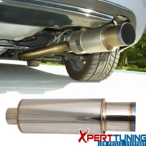 Universal Fit Stainless Steel Muffler N1 4 Inch Flat Color Tip With Silencer