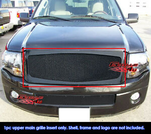Fits 2007 2014 Ford Expedition Main Upper Stainless Black Mesh Grille Insert