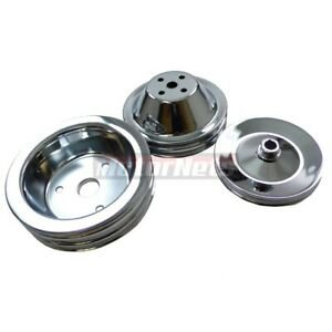 Sbc Chevy Chrome Steel Short Water Pump 2 Groove Crankshaft Pulley 3 Groove