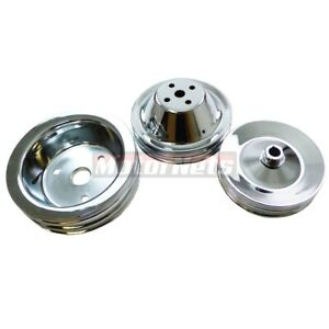 Sbc Small Block Chevy Chrome Steel Swp Short Water Pump Pulley 2 Groove 3 Groove