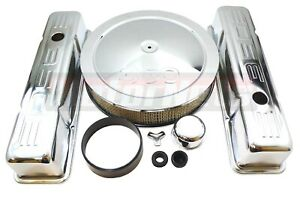 Chrome Sbc Chevy Dress Up Kit 350 Stamped Logo Stock Valve Covers Air Cleaner
