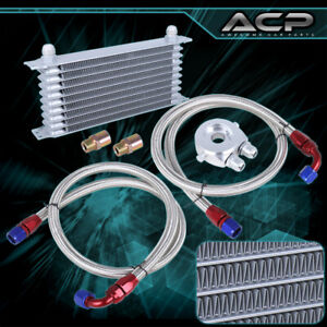Engine Diff Trans Aluminum Alloy Oil Cooler Kit filter Adapter ss Lines Silver