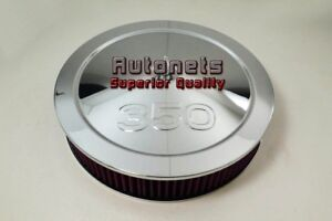 14 Chevy 350 Logo Muscle Car Chrome Steel Air Cleaner Holley Edelbrock Washable