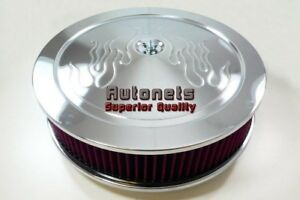 14 Round Flame Muscle Car Style Washable Element Chrome Steel Air Cleaner Chevy