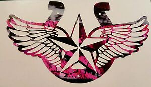 Pink Camo Cowgirl Horseshoe Country Truck Vinyl Decal 5 Muddy Rodeo Hunter Girl