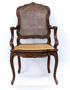 French Cane Backed Chair 19th Century Finely Hand Carved Reupholstered