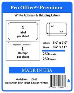 Po17 Premium Shipping Labels W Receipt Self Adhesive Half Sheet Pro Office