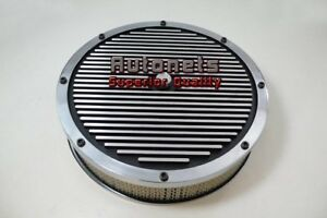 14 Round Elite Aluminum Air Cleaner Finned Top Black Sbc Bbc Chevy Ford Mopar