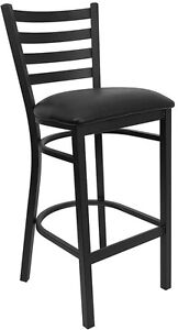 Black Ladder Back Metal Restaurant Bar Stool With Black Vinyl Seat