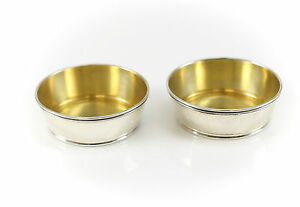 Pair Gorham Sterling Silver Small Open Salt Cellars A4063 Gold Wash Interior