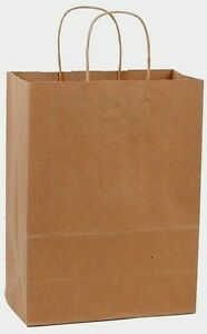 300 10x5x13 Kraft Brown Paper Handle Shopping Gift Merchandise Carry Retail Bags