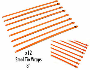 Qty 12 8 Universal Stainless Steel Zip Tie Cable For Exhaust Header Wrap Orange
