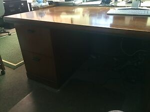 Solid Hardwood Desk With File Storage Cabinets