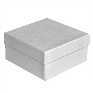 100 White Swirl Cotton Filled Jewelry Packaging Gift Boxes 3 1 2 X 3 1 2 X 2