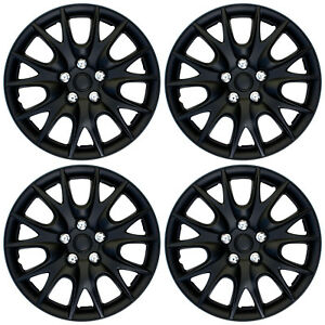 4 Pc Set Of 15 Matte Black Hub Caps Full Lug Skin Rim Cover For Oem Steel Wheel