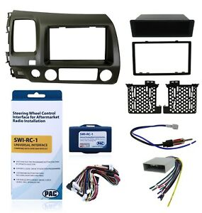 Radio Dash Mount Kit 2 din W harness antenna Steering Controls Taupe For Honda