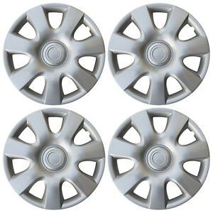 4 Pc Hub Cap Abs Silver 15 Inch Rim Wheel Skin Cover Hubcaps Set Caps Covers