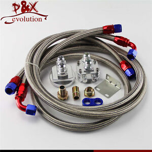 Oil Filter Relocation Sandwich Adapter Staliness Steel Braided An10 Hose Kit Sl