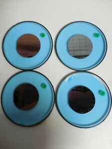 4 Colored Silicon Wafer With Diced Squares For Art lot Of 4