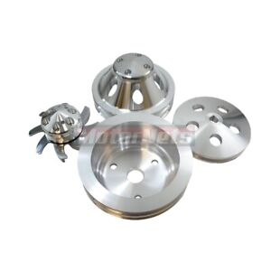 Machine Aluminum Small Block Chevy Sbc 2 Groove Long Pump Pulley Kit 350 Lwp