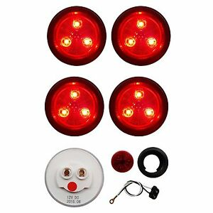 2 Red Led Round Clearance Marker Lights Dot Semi Truck Trailer Rv Tail Lamp 4pk
