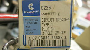 6 Challenger C225 2 Pole 25 Amp Plug In Circuit Breaker New