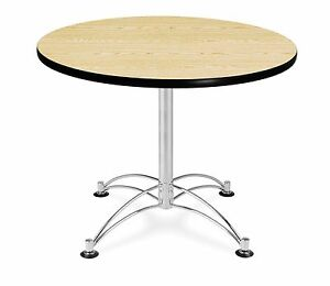 36 Round Cafe Table With Oak Laminated Top Table Height Restaurant Table