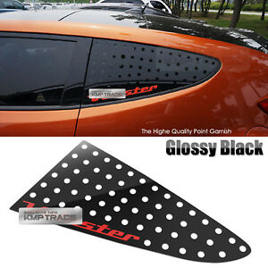 C Pillar Window Sports Plate Glossy Black Red Logo For Hyundai 2011 17 Veloster