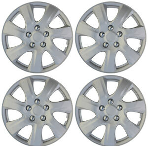 4 Pc New Universal Hubcaps Abs Silver 16 Inch Wheel Cover Hub Caps Covers Cap