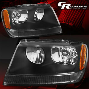 Pair Black Housing Amber Corner Headlight Lh Rh For 99 04 Jeep Grand Cherokee Wj