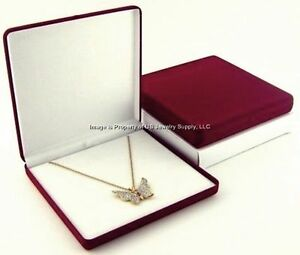 Wholesale Lot 12 Burgundy Velvet Necklace Jewelry Display Packaging Gift Boxes L