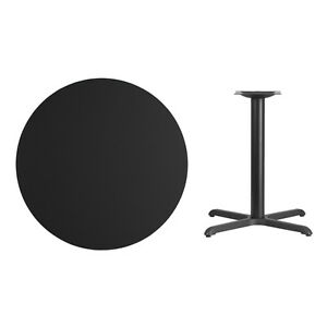 36 Round Black Laminate Table Top With Base Table Height Restaurant Table